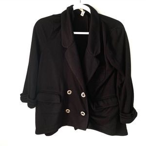 Free People Loose Button Front Knit Black Blazer